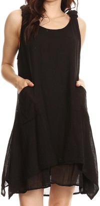 Sakkas 4340 - Genna Two Layer Sleeveless Ruched Shoulder Straps Round Neck Tent Dress - Black - OS