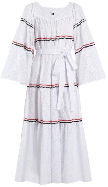 Lisa Marie Fernandez Ric Rac Trimmed Broderie Anglaise Cotton Dress - Womens - White Multi