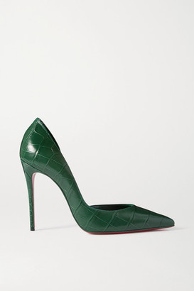 Christian Louboutin Iriza 100 Croc-effect Leather Pumps - Green