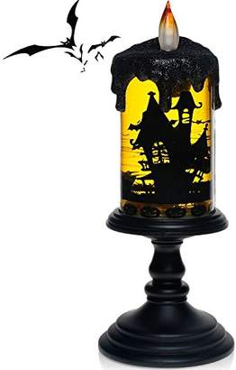 Halloween Flameless Candles, (Domestic Shipping) Battery Operated Candles with Bat Tornado Design for Decorations & Home Decorations by Emopeak