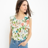 Molly Bracken Sleeveless Frilled Floral Print Blouse