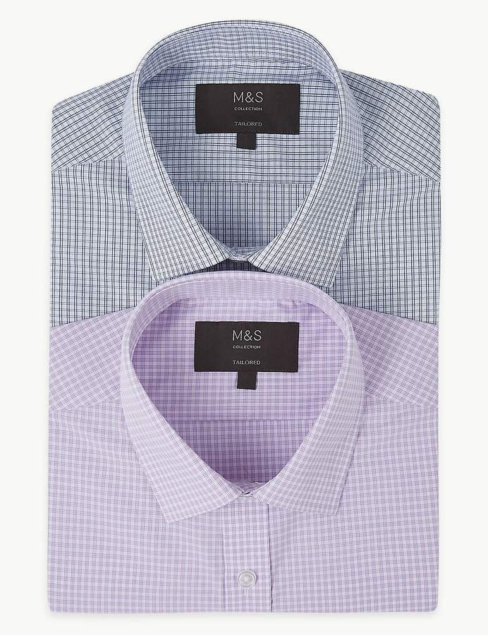 Marks and Spencer 2 Pack Cotton Blend Tailored Fit Shirts
