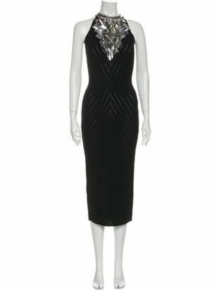 Balmain Halterneck Long Dress Black