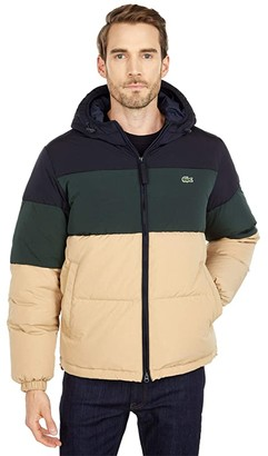 Lacoste Long Sleeve Solid Taffeta Puffer Jacket (Viennese/Viennese) Men's Clothing