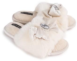 Pretty You London Darcey Luxury Jewel Slider Slippers In Cream
