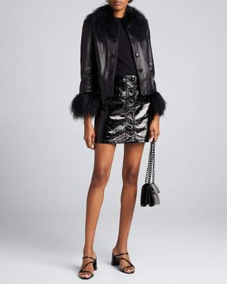 Saks Potts Dorthe Lamb Leather Shearling-Collar & Cuff Jacket