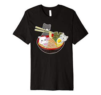 IDEA Funny Kawaii Cat Japanese Anime Bowl Ramen Noodle Gift Premium T-Shirt