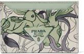 Prada Printed Textured-leather Cardholder - Light green