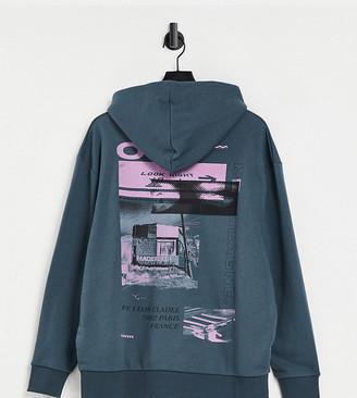 Collusion Plus Exclusive printed hoodie in slate grey