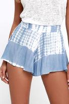 LuLu*s Knock on Wood Blue Tie-Dye Shorts