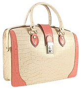 L.a.p.a. Ivory & Pink Croco-embossed Leather Doctor Bag
