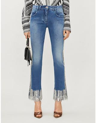 Balmain Sequin-embellished flared mid-rise stretch-denim jeans