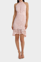 Lipsy Pink Floral Lace High Neck Bodycon