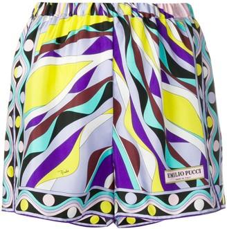 Emilio Pucci Burle Print Silk Shorts