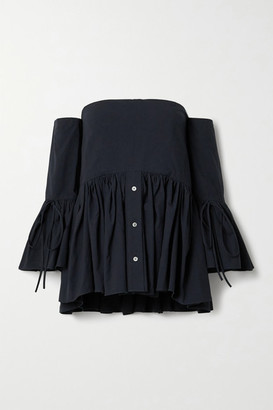 Rosie Assoulin Court Off-the-shoulder Convertible Cotton-poplin Peplum Blouse - Navy
