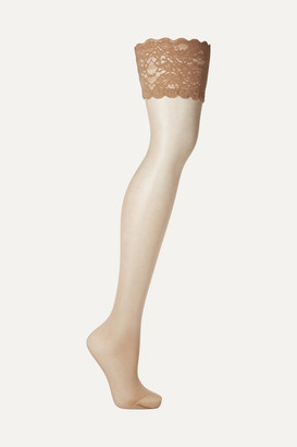 Wolford Satin Touch 20 Denier Stay-up Stockings - Sand