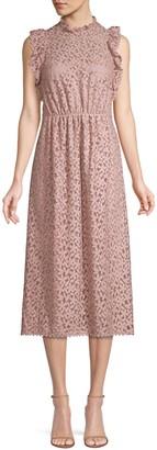 Kate Spade Floral Crochet Lace Ruffle Midi Dress