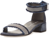 Stuart Weitzman Nudistchains Denim Ankle-Wrap Sandal, Navy