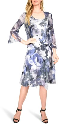 Komarov Floral Tiered Chiffon Dress with Jacket