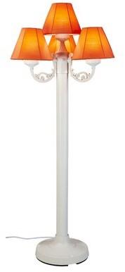 "Patio Living Concepts Versailles 63"" Candelabra Floor Lamp Base Color: White, Shade Color: Linen Antique Beige"