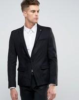 Asos Skinny Blazer in Black Faux Suede