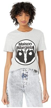 MM6 MAISON MARGIELA Fitted 6 Hands Logo T-Shirt (Grey Melange) Women's Clothing