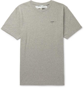 Off-White Off White Logo-Print Melange Cotton-Jersey T-Shirt - Men - Gray