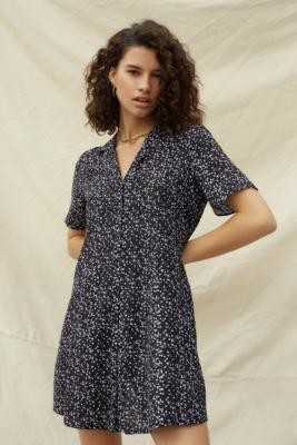 Urban Renewal Vintage Urban Outfitters Archive Black Micro Floral Tea Dress - Black XS at Urban Outfitters
