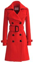 SODIAL(R) Women Trench Cashmere Slim Winter Warm Coat Long Wool Jacket Outwear With Belt Size m