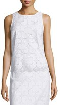 Trina Turk Sleeveless Lace Scalloped-Hem Top
