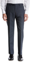 Armani Collezioni Flat-Front Micro Wool Trousers, Gray