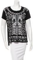 Faith Connexion Geometric Pattern Mesh-Trimmed T-Shirt