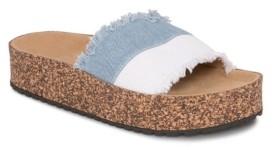 OLIVIA MILLER Sanibel Denim Frayed Color Block Sandals Women's Shoes