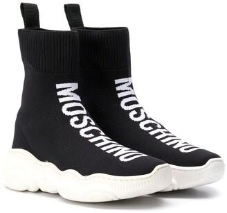 MOSCHINO BAMBINO TEEN intarsia logo hi-top sneakers