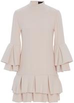 Brandon Maxwell Heavy Georgette Ruffle Hem Mini Dress