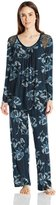Midnight by Carole Hochman Women's Pajama with Lace Inset