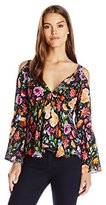 Nicole Miller Women's Tossed Wildflowers Silk Georgette Top