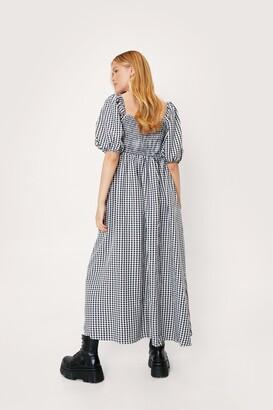 Nasty Gal Womens Gingham Print Square Neck Maxi Dress - Black - 6