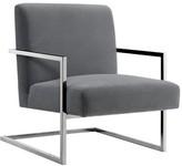 Nicole Miller Keenan Velvet Square Armchair Upholstery Color: Gray, Leg Color: Chrome