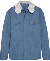 Miu Miu Silk-organza And Guipure Lace-trimmed Denim Shirt - Mid denim