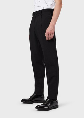 Emporio Armani Light-Wool Seersucker Trousers