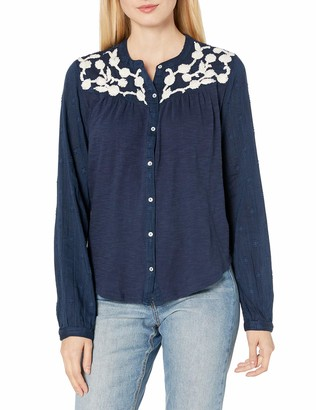 Lucky Brand Women's Long Sleeve Scoop Neck Embroidered Yoke Button Down Shirt