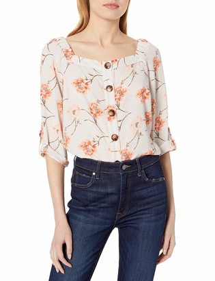 Amy Byer Women's Square Neck Tab-Sleeve Top