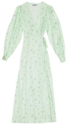 Ganni Print Silk-Stretch Wrap Dress