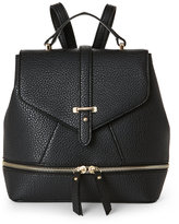 Imoshion Black Pebbled Faux Leather Mini Backpack