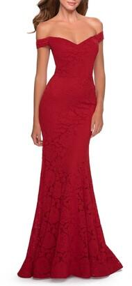 La Femme Off the Shoulder Stretch Lace A-Line Gown