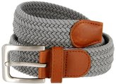Belts Braided Elastic Fabric Woven Stretch Belt Leather Inlay (, Medium)