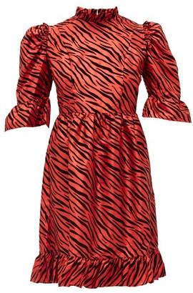 Batsheva Kate Zebra-flocked Taffeta Mini Dress - Womens - Red