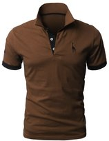 DLSCOLO Mens Casual Solid Color Giraffe 3 embroidery Polo Shirts Single or Pack