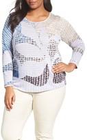 Nic+Zoe Plus Size Women's Dayflower Linen Blend Top